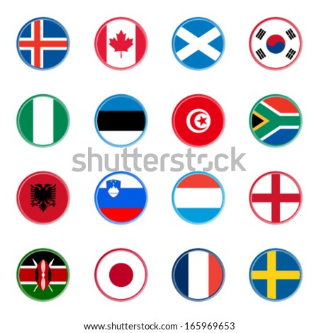 world flag icons - stickers 4/4 (official colors) - stock vector
