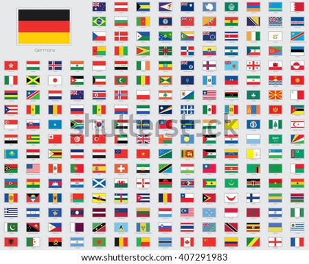 World Flag Illustrations with a Stitched or Dotted Outline - stock vector