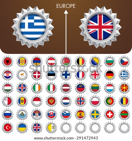World Flag Metal Badges collection. Europe - stock vector