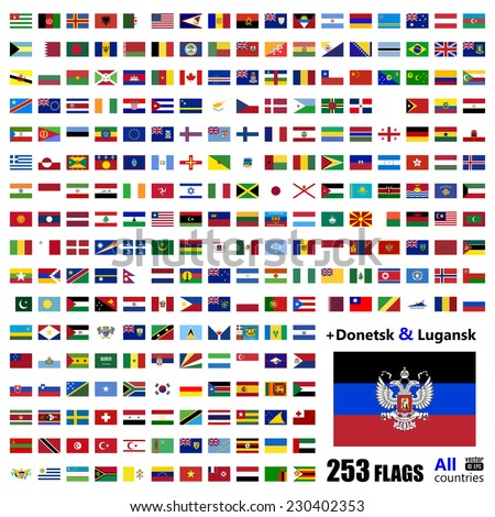 World Flags Collection - All Sovereign States Set on September 2014 - with Donetsk and Luhansk - Vector Illustration - stock vector