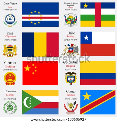 world flags of Cape Verde, Central African Republic, Chad, Chile, China, Colombia, Comoros and Congo, with capitals, geographic coordinates and coat of arms, vector art illustration - stock vector