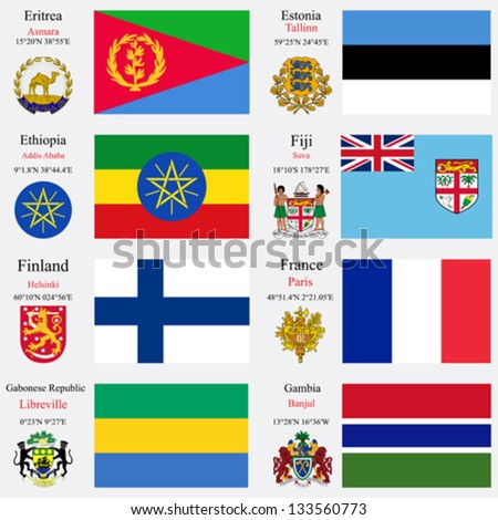 world flags of Eritrea, Estonia, Ethiopia, Fiji, Finland, France, Gabonese Republic and Gambia, with capitals, geographic coordinates and coat of arms, vector art illustration - stock vector