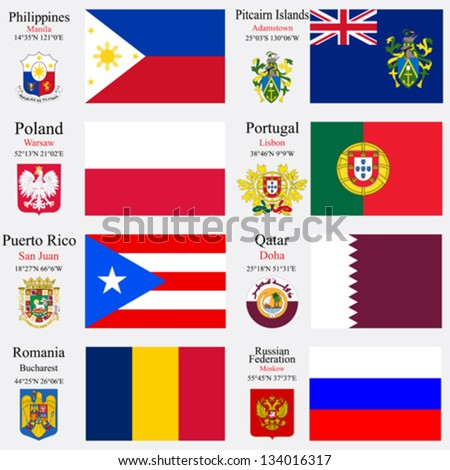 world flags of Philippines, Pitcairn Islands, Poland, Portugal, Puerto Rico, Qatar, Romania and Russian Federation, with capitals, geographic coordinates and coat of arms, vector art illustration - stock vector