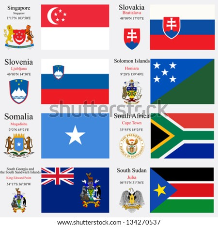 world flags of Singapore, Slovakia, Slovenia, Solomon Islands, Somalia, South Africa, South Georgia and the South Sandwich Islands and South Sudan, capitals, gps and coat of arms, art illustration - stock vector