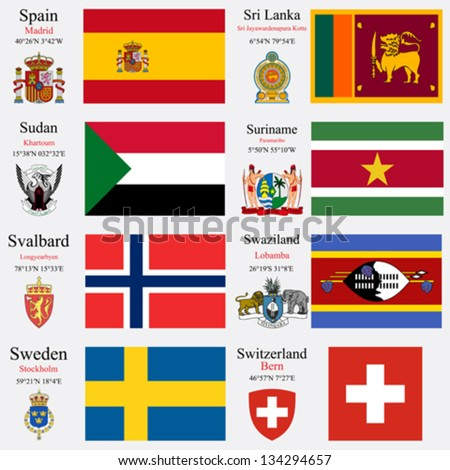 world flags of Spain, Sri Lanka, Sudan, Suriname, Svalbard, Swaziland, Sweden and Swiss Confederation, with capitals, geographic coordinates and coat of arms, vector art illustration - stock vector