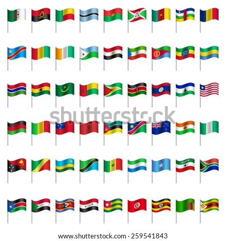 WORLD Flags on pole AFRICA  Part 6/6 Vector  - stock vector