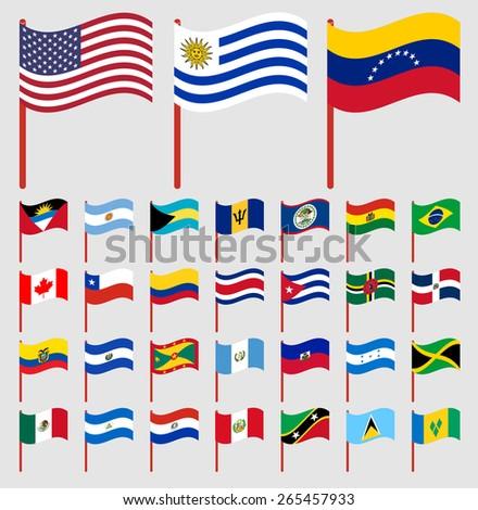 World flags on red pole Part 1/6 North and South America - stock vector