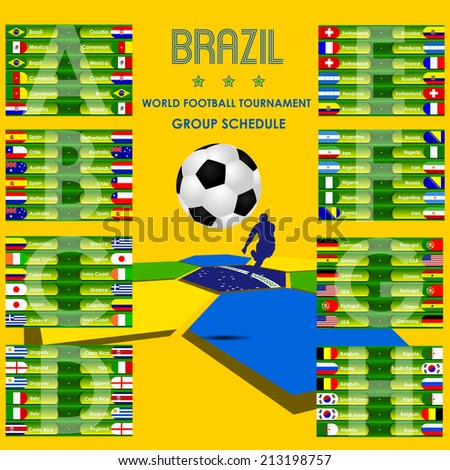 World football tournament schedule Brazil,vector - stock vector