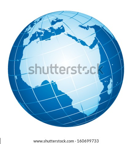 World globe. African view. Vector icon. - stock vector