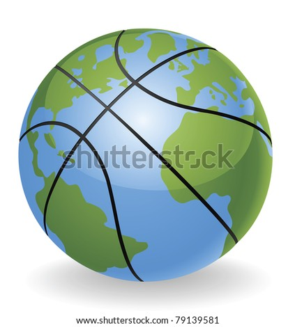 World globe basketball ball ball concept illustration - stock vector