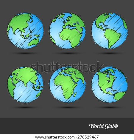 World Globe doodle set Hand drawn sketch,Vector Illustration - stock vector