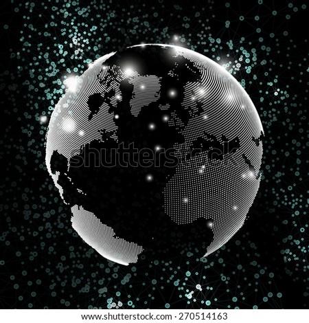 World globe, global network. Molecule structure, black background for communication, science vector illustration - stock vector