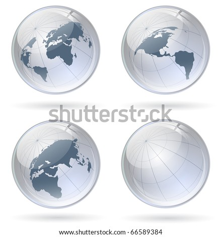 world globe glossy balls - stock vector