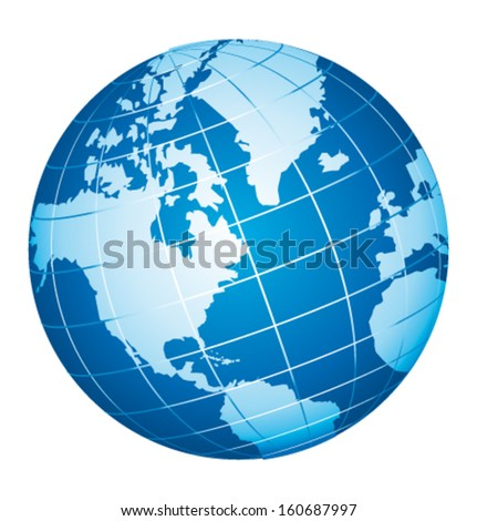 World globe icon. American view. Vector icon. - stock vector