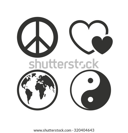 World globe icon. Ying yang sign. Hearts love sign. Peace hope. Harmony and balance symbol. Flat icons on white. Vector - stock vector