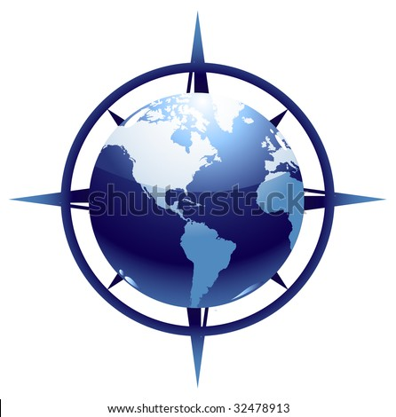World globe illustration with compass - stock vector