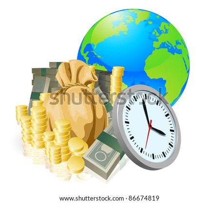 World globe money time business concept. Time is money, international business concept. - stock vector