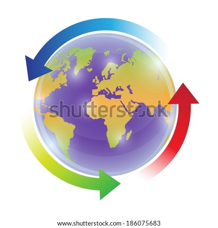 World globe with colourful circulation arrows  - stock vector