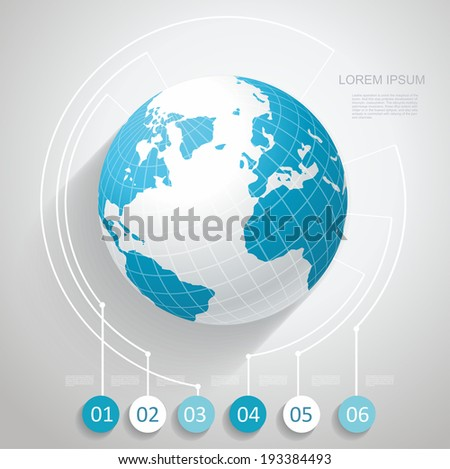 World globe with number stickers, Business software and social media networking service concept - stock vector