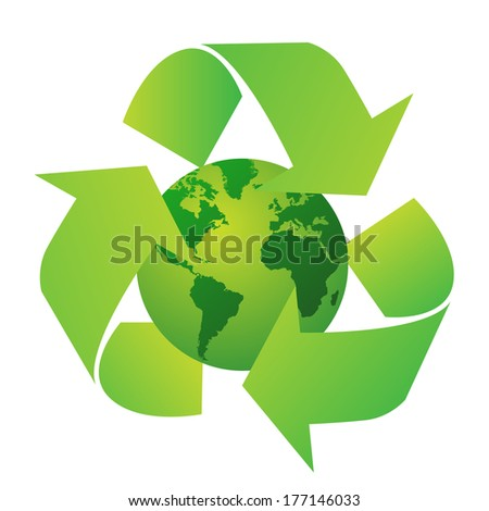 World globe with recycle signs vector - stock vector