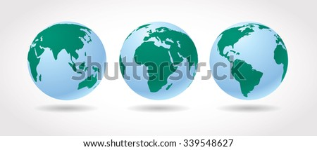 World globes vector set. - stock vector