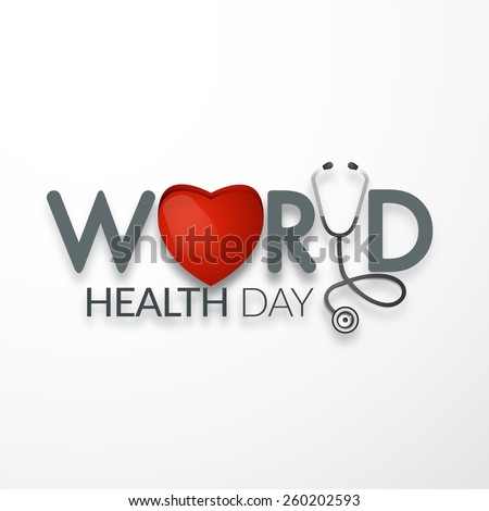 world health day concept text design with doctor stethoscope. - stock vector