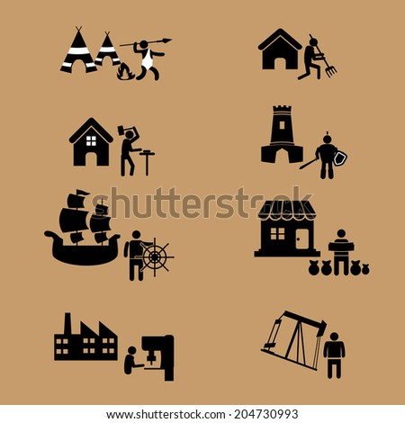 World history of man careers civilization vector - stock vector