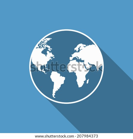 world icon with long shadow - stock vector