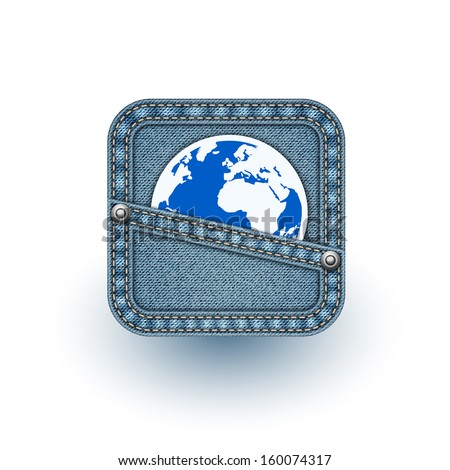 World in pocket. Realistic vector denim background. Eps10 - stock vector