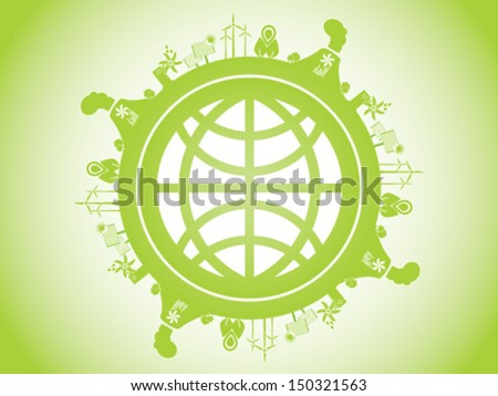 World In Renewable Energy  - stock vector
