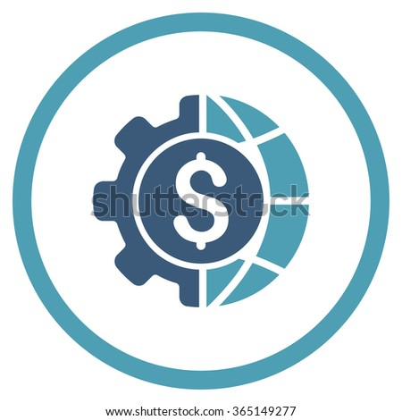 World Industry Finances vector icon. Style is bicolor flat circled symbol, cyan and blue colors, rounded angles, white background. - stock vector