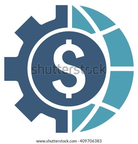 World Industry Finances vector icon. Style is bicolor flat symbol, cyan and blue colors, white background. - stock vector
