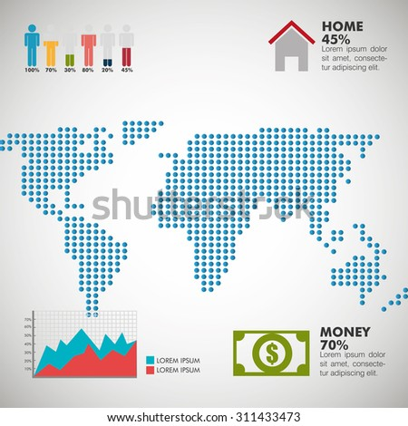 World infographic design, vector illustration eps 10. - stock vector