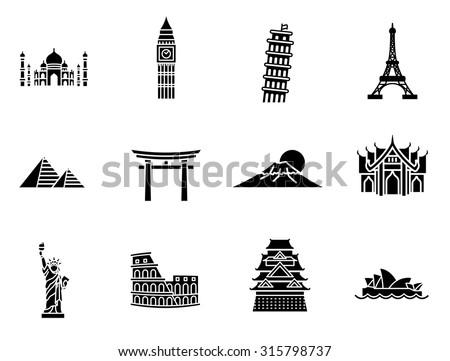 World Landmark Glyph Vector Icon Set - stock vector
