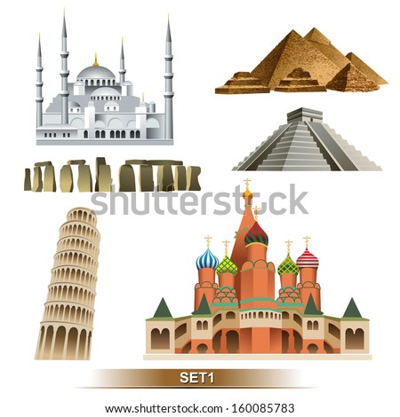 World Landmark icon set - stock vector