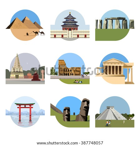 World landmarks flat icon set. Vector travel illustration. Monument sign. Egypt pyramid, Temple of Heaven, Stonehenge, Mahabodhi, Colosseum, Italy Pantheon, torii gate, Moai, Mesoamerican pyramids - stock vector