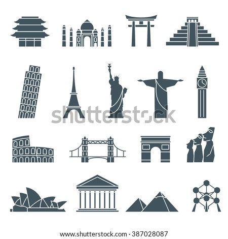 World landmarks icons, abstract vector set - stock vector
