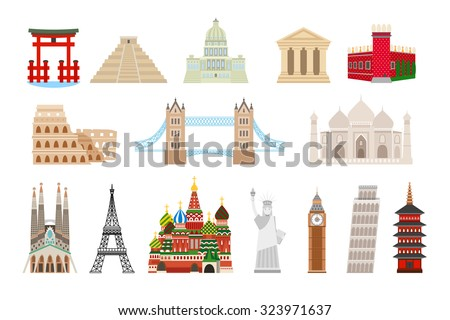 World landmarks icons in flat style. Coliseum and kremlin, bridge and taj mahal, statue liberty, big ben, eiffel and pisa tower. Vector illustration - stock vector
