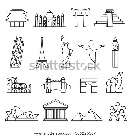 World landmarks outline icons, abstract vector set - stock vector
