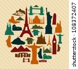 World landmarks silhouettes elements set. Vector file layered for easy manipulation and custom coloring. - stock vector