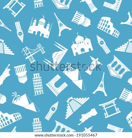 World landmarks silhouettes seamless pattern - stock vector