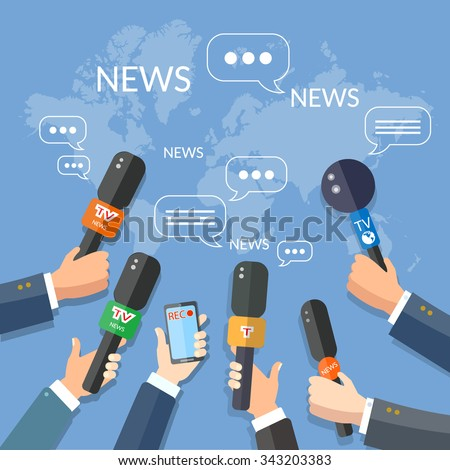 World live news report press concept hands of journalists with microphones and smartphone recording - stock vector