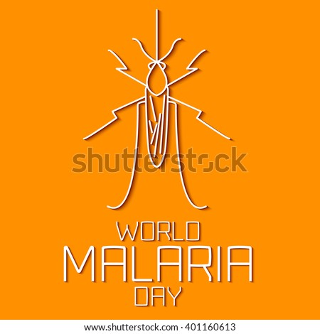 World Malaria Day concept. Mosquito line icon with shadows. Malaria awareness sign. Malaria transmission. National malaria day. Malaria solidarity day. Linear design. Vector illustration.   - stock vector