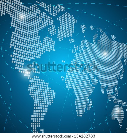 World map abstract background with lines - stock vector