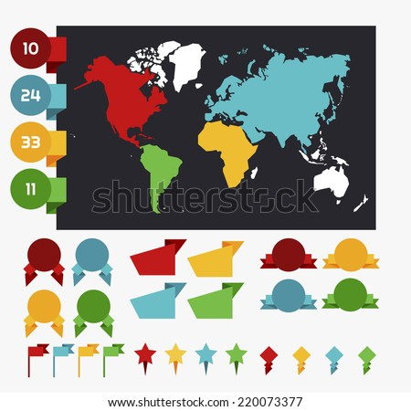 World map and data bubbles, map pins collection. Flat style. Vector eps10. - stock vector