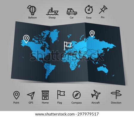 World map and different transportation icons. Infographic template - stock vector