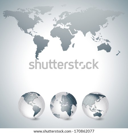 World map and globes grey - stock vector