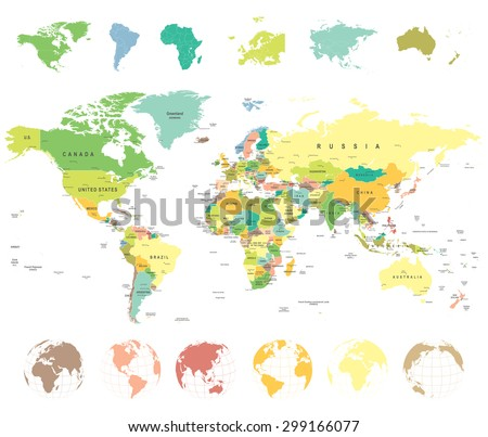 World map and globes - highly detailed vector illustration - stock vector