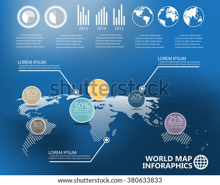 world map and  infographics elements on blur background. can be used for workflow layout, diagram, step up options, statistic elements, web design. Vector illustration. - stock vector