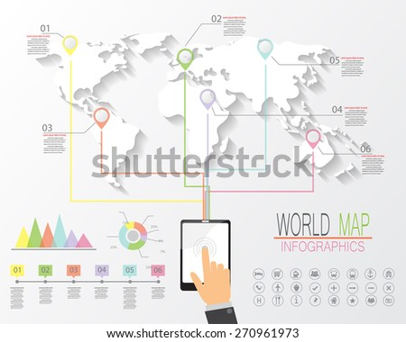 world map and  infographics elements. worldwide connection concept. vector illustration. - stock vector
